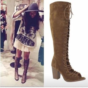 Vegan suede lace up knee high boot size 5.5